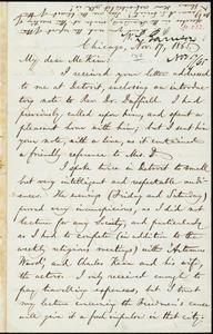 Letter from William Lloyd Garrison, Chicago, [Illinois], to James Miller M'Kim, Nov. 17, 1865