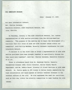 [News Release: AIDS Interfaith Network AA Community] AIDS Interfaith Network, 1990
