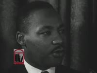 WSB-TV newsfilm clip of Dr. Martin Luther King, Jr. responding to a reporter's question about president John F. Kennedy's speech on civil rights and the murder of Medgar Evers, Atlanta, Georgia, 1963 June 12