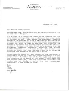 Letter from Doug McAdam to Freedom Summer Alumnus