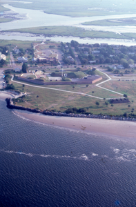 Aerial view of Fort Moultrie Visitor Center and Fort Moultrie, South Carolina