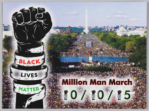 Postcard advertising the Milion Man March 20th Anniversary