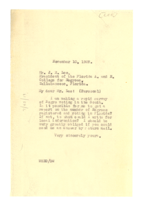 Letter from W. E. B. Du Bois to J. R. Lee