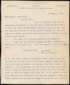 Letter from Francis Jackson Garrison, Boston, to Worthington Chauncey Ford, Dec. 3, 1901