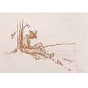 Drawing of an African American man fishing