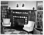 Hough Branch 1966: Carnegie building, fireplace in children's room with story tile