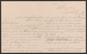Letter from Thomas Womack to Julia Womack with envelope