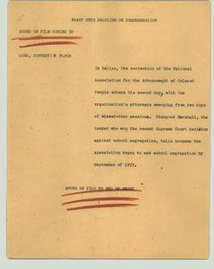 [News Script: NAACP sets deadline on desegregation] NBC News Scripts