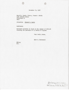 Letter from Mark H. McCormack to Merrill, Lynch, Pierce, Fenner and Smith