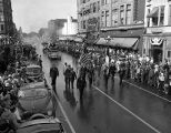Centennial Parade with African American soldiers in uniform marching, Bloomington, Illinois, September 20, 1950