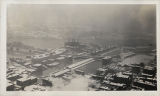 Aerial view of Ohio River during 1937 flood, Cincinnati, Ohio
