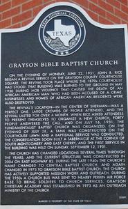 [Texas Historical Commission Marker: Grayson Bible Baptist Church]
