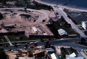 Aerial view of Fort Moultrie under restoration work, South Carolina
