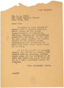Letter from Augustus Granville Dill to M. L. Kiser