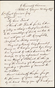 Letter from Andrew Paton, Glasgow, [Scotland], to William Lloyd Garrison, 23 Aug[ust] 1877