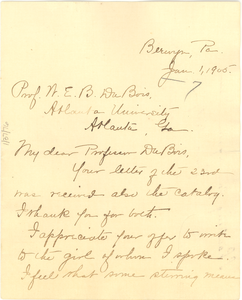 Letter from Margaretta Atkinson to W. E. B. Du Bois