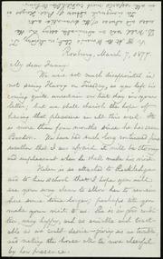 Letter to] My dear Fanny [manuscript