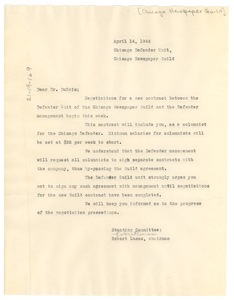 Letter from Chicago Newspaper Guild to W. E. B. Du Bois