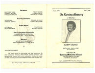 In loving memory of the late, Elvert Chester, Saturday, July 12, 1980, at 11:00 a.m., in the chapel of Ramsey Memorial Chapel, 15050 Dexter Boulevard, Detroit, Michigan, Rev. Robert Thomas, Jr., officiating