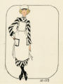 Costume design drawing, maid in striped dress, Las Vegas, June 5, 1980