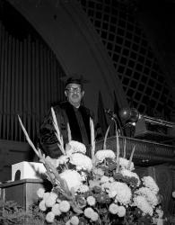 Supreme Court Justice Thurgood Marshall at lectern for UM Commencement in Hill Auditorium, January 1965