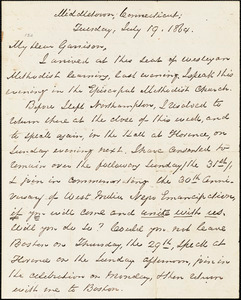 Letter from George Thompson,Middletown, Connecticut, to William Lloyd Garrison, 1864 July 19