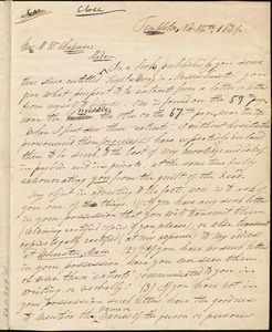 Letter from Charles Turner Torrey, Templeton, [Massachusetts], to Maria Weston Chapman, 1839 Nov[ember] 12