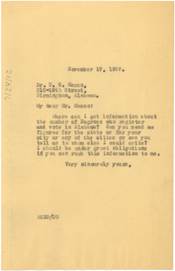 Letter from W. E. B. Du Bois to U. G. Mason