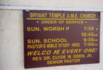 Bryant Temple A.M.E. Church sign