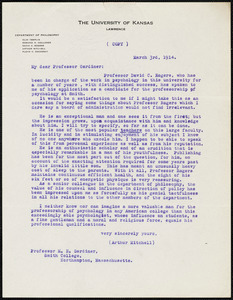 Mitchell, Arthur. T. copy of letter to Norman Gardiner., 3 March 1914
