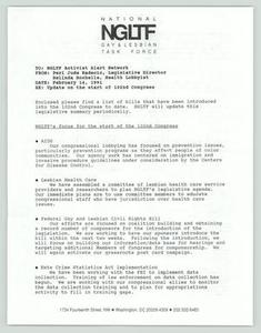 [Network Alert: Introduced Bills] National Gay and Lesbian Task Force (NGLTF), 1990-1991