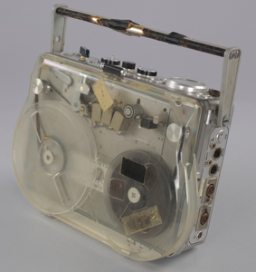 Reel-to-reel tape recorder and reels used by sound engineer Russell Williams II