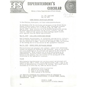 Superintendent's Circular: Court ordered orientation meetings, May 10, 1976