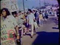 WSB-TV newsfilm clip of a demonstration against the Vietnam War commemorating Dr. Martin Luther King, Jr.'s assassination, Atlanta, Georgia, 1969 April 6