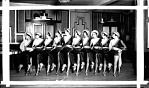 [Female dancing group, in line dancing: acetate film photonegative.]