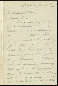 Letter from Elizabeth G. May, Leicester, [Mass.], to Worthington Chauncey Ford, June 12th, 1900