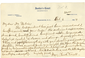 Letter from Mary Church Terrell to W. E. B. Du Bois