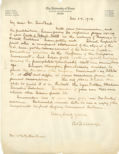 Letter from A. B. Wolfe to W. E. B. Du Bois