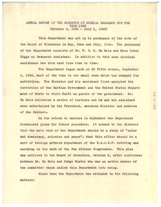 Annual Report of the NAACP Department of Special Research for the Year 1945