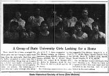"""A group of State University girls looking for a home,"" August 22, 1919"