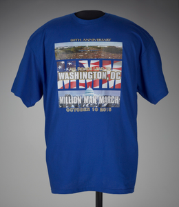"T-shirt stating ""All Roads Lead to Washington, DC"", worn at MMM 20th Anniversary"