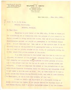 Letter from Wilford H. Smith to W. E. B. Du Bois