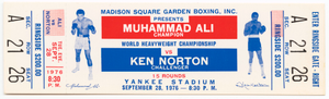 Ticket to a championship boxing match between Muhammad Ali and Ken Norton