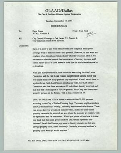 [Series of Documents: The Gay & Lesbian Alliance Against Defamation] Gay and Lesbian Alliance Against Defamation (GLAAD), 1991