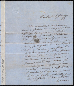 Letter from Victor Schoelcher to Maria Weston Chapman, Vendred, 6 Janvier [18]54(?)