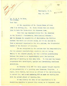 Letter from Juliette V. Harring to W. E. B. Du Bois