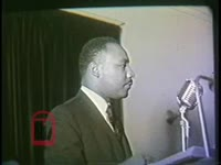 WSB-TV newsfilm clip of Dr. Martin Luther King, Jr. and reverend C. S. Hamilton speaking to a mass meeting, Augusta, Georgia, 1962 April 3