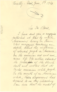 Letter from Fernande Bruneau to W. E. B. Du Bois