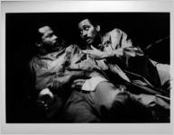 "John O'Neal (Left) and Michael Keck (Right) in ""Ain't No Use in Goin' Home, Jodie's Got Your Gal and Gone,"" written by John O'Neal, Nayo-Barbara Malcolm Watkins, and Q. R. Hand, Jr., at 7 Stages Theatre, Atlanta, Georgia, March 7 - 25, 1990"