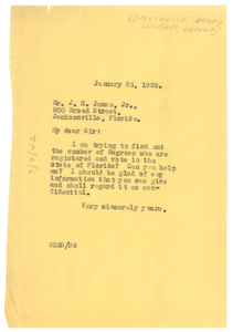 Letter from W. E. B. Du Bois to Joe H. James Jr